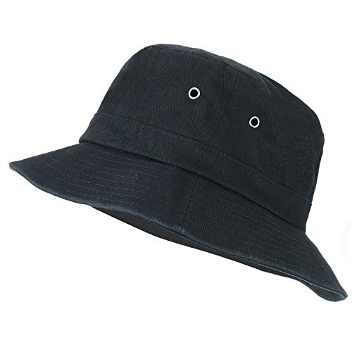 Trendy Apparel Shop Oversize XXL - XXXL Short Brim Outdoor Bucket Hat - Black - 2XL-3XL