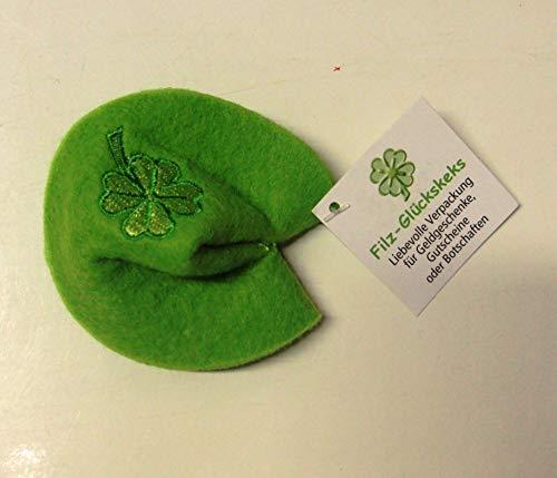 Unbekannt 1 Glückskeks Filz hell grün Kleeblatt Bestickt Idee für Geld- & Gutscheine ca 7 x 6 cm