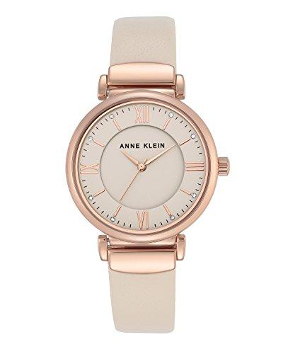 Anne Klein Damen Analog Klassisch Quarz Uhr mit Leder Armband AK/N2666RGIV