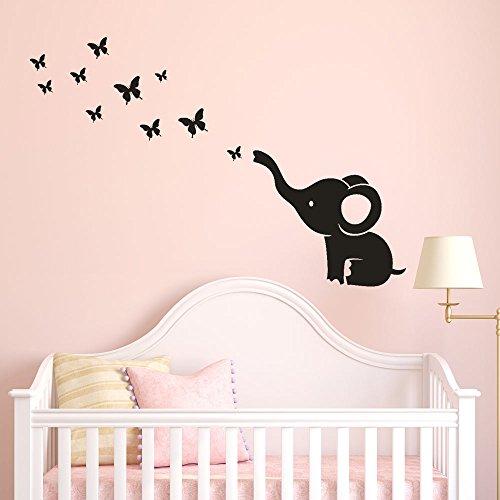Lemoning Kitchen Wall Decor, DIY Elephant Butterfly Wall Stickers Decals Children's Room Home Decoration Art