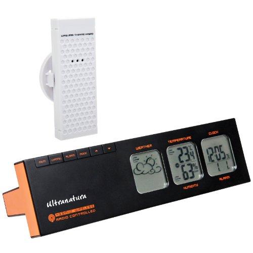 Ultranatura Wetterstation UN 400 in T-Form mit Funkuhr und externem Thermo-Hygro Sensor