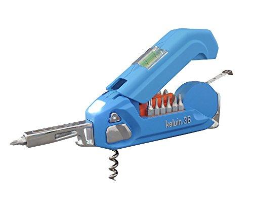 Kelvin Tools K-36 Multi-Tool Set, 36 integrierte Werkzeuge, 26 Bit Schraubendreher Set, Maßband, Korkenzieher (Cyan)