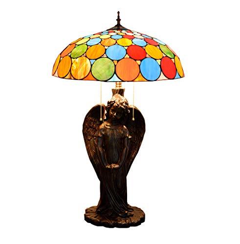 Romantische stijl Tiffany tafellamp, kleurrijk, lampenkap van glas, gesneden van kunsthars, voor woonkamer, slaapkamer, nachtkastje, verlichting 50 cm breed, E27,40 W * 3