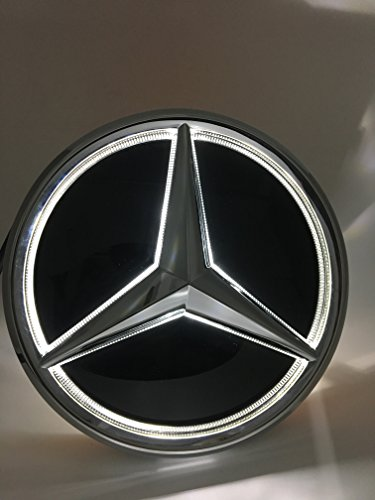 Cszlove Car Front Grilled Star Emblem LED Illuminated Logo Works with Mercedes Benz 2013-2015 A B C E S GLK ML Class Center Front Badge Lamp Light White - Mirror Surface