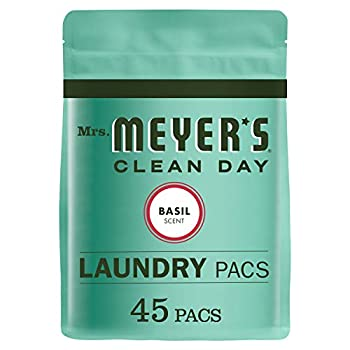 Mrs Meyer s Clean Day Laundry Detergent Pacs Biodegradable Formula Ready to Use Pods Basil Scent 45 Count