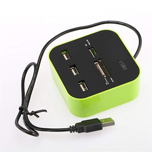 USB 2.0 Hub Combo All-in-One-Kartenleser mit 3 Anschlüssen (Grün)