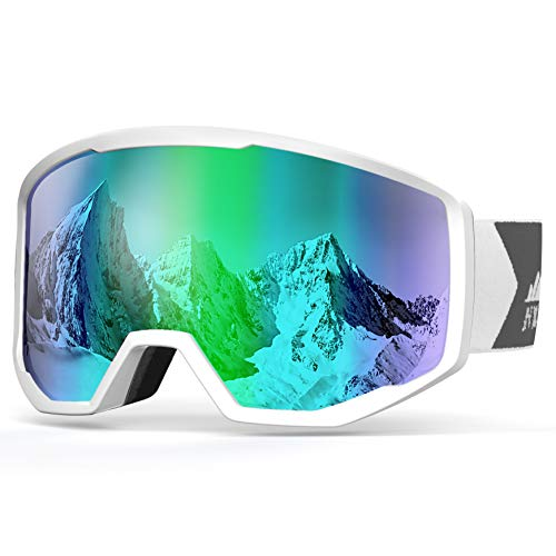NXONE Ski Goggles for Men and Women, Anti-Fog Over Glasses Snowboard Goggles with UV Protection, Windproof Helmet Compatible Dual Lens Goggles-100% UV Protection