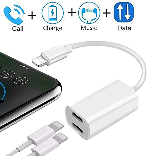 [Apple MFi Certified] Lightning Headphone Earphone Adapter Splitter, Support iOS 13 + Sync Data + Music Control, Dual Lightning Adapter 2 in 1 Headphone Audio Charge for iPhone11/X/XR/XS/XS max/8/7