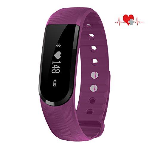 COOSA Fitness-Armband, wasserdicht, Smartwatch mit Touchscreen, Fitness-Tracker, Schrittzähler, Messer für Kalorien, Schlaf, Herzfrequenz Ruferinnerung, für Smartphones mit Android oder iOS, 2Violet