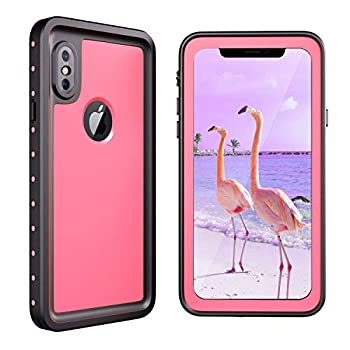 meritcase iPhone X/Xs Waterproof Case IP68 Underwater Shockproof Dustproof Snowproof Full Body Protective Phone Case with Screen Protector for Apple iPhone X/Xs  Pink