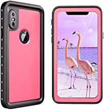 meritcase iPhone X/Xs Waterproof Case, IP68 Underwater Shockproof Dustproof Snowproof Full Body Protective Phone Case with Screen Protector for Apple iPhone X/Xs (Pink)