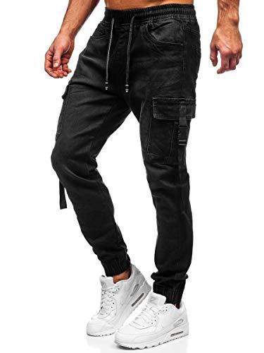 BOLF Hombre Pantalón Vaquero Cargo Jogger Denim Jeans Pantalón de Mezclilla Skinny Vaqueros Sombreado Vaqueros Ajustados de Algodón Slim Fit Estilo Urbano TOPHERO 8871 Negro XXL [6F6]