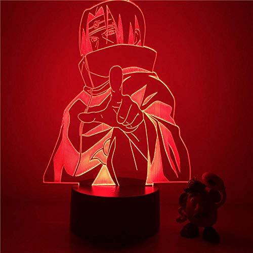 Lámpara de ilusión 3D Luz de noche LED Naruto Sasuke Itachi Action Lámpara de mesa óptica táctil de 7 colores Modelo de decoración del hogar Los mejores regalos de vacaciones de cumpleaños para n