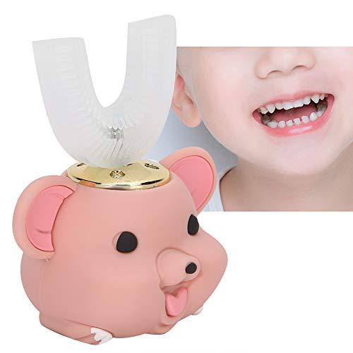 Ultraschall automatische Zahnbürste, Kinder elektrische Zahnbürste Cartoon Muster U-Form Silikonbürste Kopf Zahnbürste für Kleinkinder(6‑14 Years Old-Rosa)