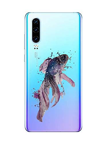 Oihxse Funda Huawei P9 Lite 2017 Transparente Silicona TPU Protector Flexibilidad Carcasa, Oceano Animal Diseño Case para Huawei P9 Lite 2017 Gel Cover Bumper-Pescado A3