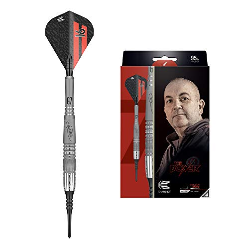 Target Darts Phil Taylor Power 9-Five Gen 7 18G 95% Tungsten Soft Tip Darts Set Wolfram Dartset, Grau, Schwarz und Rot, 18 g
