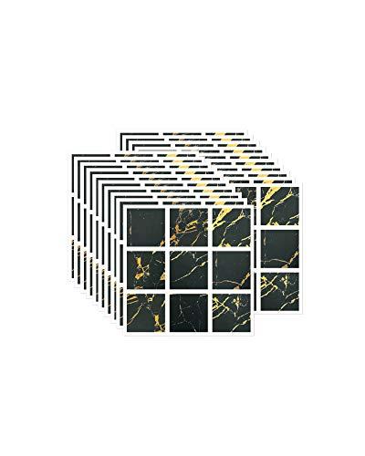 FBBULES 20 Piezas Pegatinas de Pared PVC, Azulejos Adhesivos Resistente Calor Impermeable Protector contra Salpicaduras para Sala Cocina Mosaico Negro (10 x 10 cm / 4 x 4 Pulgadas)