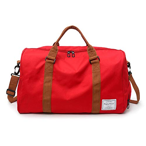 MOLLYGAN Oversized Duffel Bag Large Capacity Gym Bag Travel Duffle Sports Bag with Shoes Compartment Tote Bag for Men and Women Red