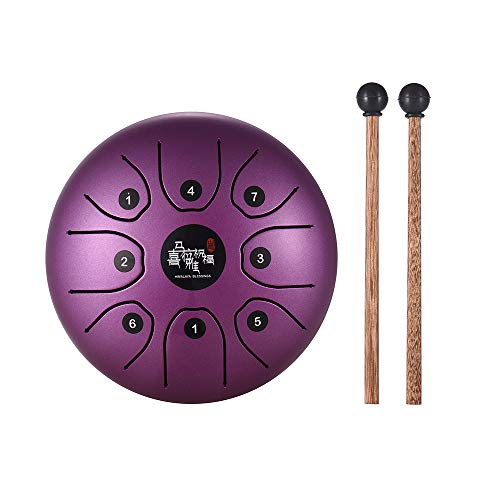 Muslady Steel Tongue Drum 5.5 Inch Mini 8-Tone C Key Percussion Instrument Hand Pan Drum with Drum Mallets Carry Bag (Purple)