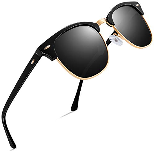 Retro Mens Sunglasses for Men - FEIDU Half Metal Polarized Sunglasses for Women FD3030...