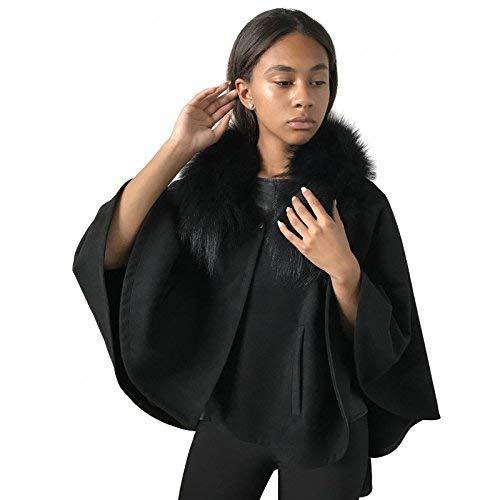 Poncho Sale price Cape cashmere Collar fur Genuine trim fox