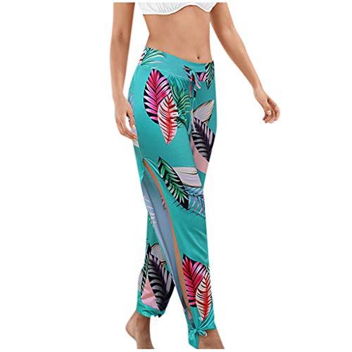 Why Choose Dainzusyful Women's Harem Yoga Pants Bohemian Printed Side Slit Comfy Loose Lounge Workout Beach Jogger Pants Blue