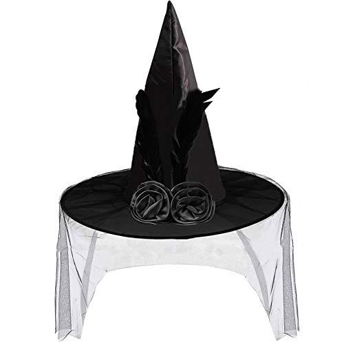 2021년 성인 할로윈 파티를 위한 부드러운 레이스 메쉬 로즈 꽃과 깃털 할로윈 의상 액세서리 블랙 마녀 모자