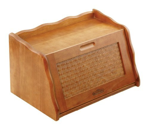 "Mountain Woods Honey Oak Finish Large Bamboo Wooden Bread Box and Storage Container Box with Rattan Lid - 16"" x 10.5"" x 9"""
