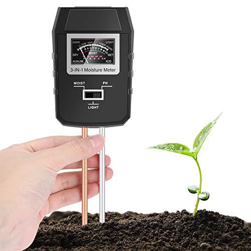 Buluri Medidor de Suelo, Monitor de Agua del Suelo 3 en 1 Medidor de PH Humedad Ligera Preciso para Jardín Granja Césped Interior y Exterior, No Necesita...
