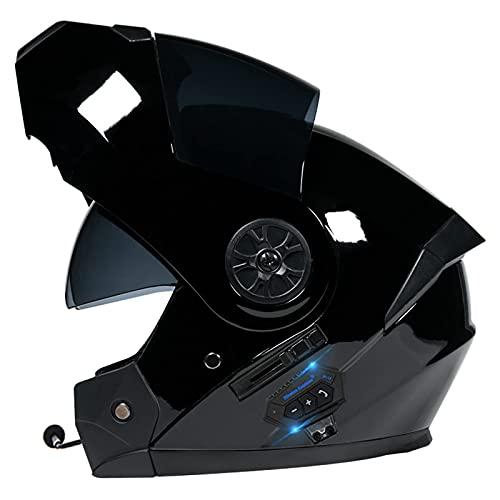 DXMRWJ Casco de Motocicleta Modular, Casco de Moto de Cara Completa con Visera antivaho Doble Frontal abatible con Bluetooth, Casco de Carreras S Certificado por ECE para Hombres Adultos, Muje