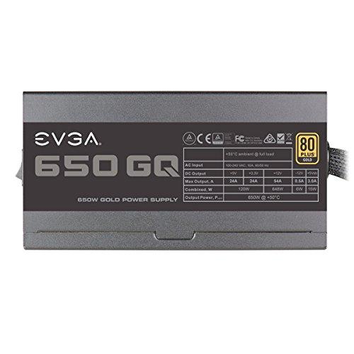 EVGA 650 GQ, 80+ GOLD 650W, Semi Modulare, EVGA ECO Mode, Alimentatore 210-GQ-0650-V2