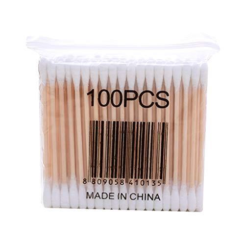 Exing 1 paquet de cotons-tiges en bois Bourgeons de coton Bourgeons de nettoyage multi-usage pour nez et oreilles Outil cosmétique de maquillage stérile sans poussière (Comme l'image)