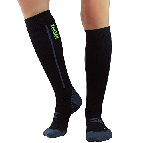 Zensah Featherweight Compression Socks - Ultra-Lightweight Compression Socks - Anti-blister, Graduated Compression (M, Black)