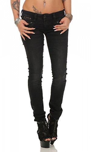 Herrlicher Damen Piper Slim Jeans, Schwarz (Tempest 671), 28W / 30L