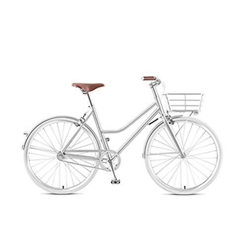 TWW Leichtes Retro-Fahrrad 26 Zoll Fahrrad Stadt Pendler Fahrrad Retro Fahrrad Fahrzeug Set Vintage Erwachsenen Fahrrad,Silber