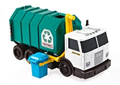 ​This 15-inch large-scale truck is hand-activated with realistic sounds for loading, dumping and rolling. ​Push vehicle forward or pull backward for realistic sounds. Push down the garbage lever to raise the trash bin and dump recycling in the truck—...