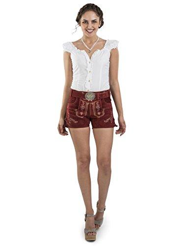Damen Lederhose Hannah kurz mit Trachtengürtel - Hotpants Trachtenlederhose Dunkelrot Gürtel (36, Rot)