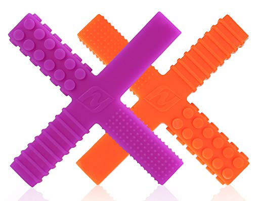 Sensory Chew Stick Toys for Boys Girls Kids with Autism, ADHD, SPD, Oral Motor Needs - Medium Hardness Teething Chewy Tubes with 4 Unique Textures (2 Pack)