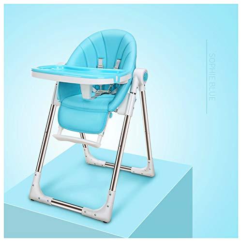 MMYYIP babystoel, verstelbare lederen stoel inklapbare baby hoge stoel, kindervoeding hoge stoelen, zacht leder compact, vijfpunts gordels kinderstoel
