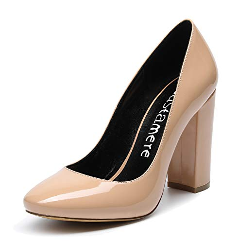CASTAMERE Mujer Clásico Tacón Ancho Zapatos de Tacón Confort Punta Redonda Zapatos Mujer Sexy Boda Vestido Partido Oficina Tacones Altos 10cm Charol Desnudo EU 37
