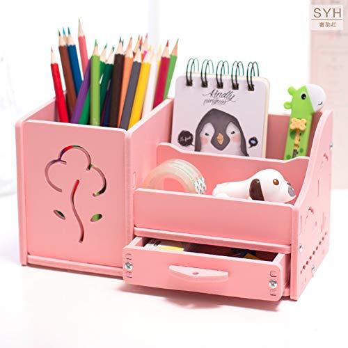 Multi-funktions Stifthalter, Kreativstift veranstalter student süße schreibwaren schreibtisch organizer büro stift bleistift halterschale-pinke Blume 22x11x12cm(9x4x5inch)