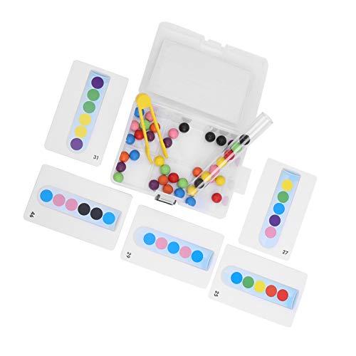 idalinya Juguete de Probeta, Juguete de Bola con Clip, Madera para niños de 3 años + niños de educación temprana(Test Tube Clip Beads)