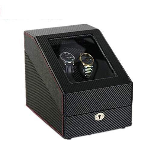 GUOOK 2 + 3 Uhrenbeweger für Automatikuhren Display Holz Aufbewahrungskoffer mit Schloss Klavierlack Schwarz Glanz Deluxe Silent Motor Rotation-26 & Times; 29 & Times; 21CM