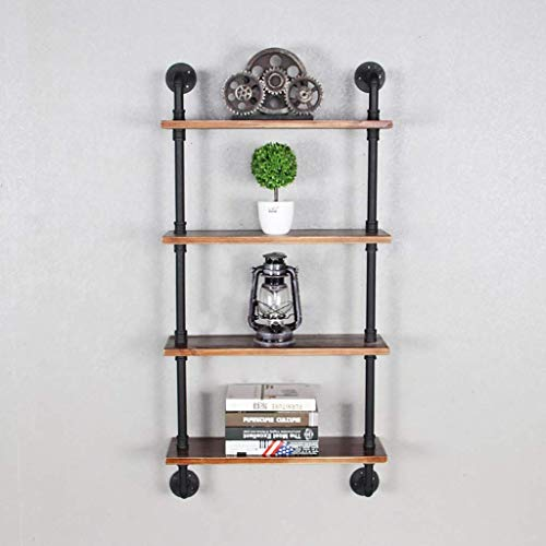 Floating Shelves Solid wood, retro, industrial style, flat partitions, wrought iron pipes, perforated installation, bookshelves, flower racks, towel racks, wall decoration racks, wall-mounted shelves,