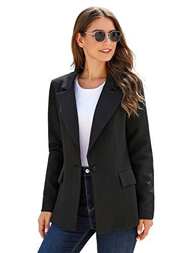 ELESOL Womens Black Blazer for Work Casual Open Front Slim Jacket Blazer Plus Size Boyfriend Jacket XXL