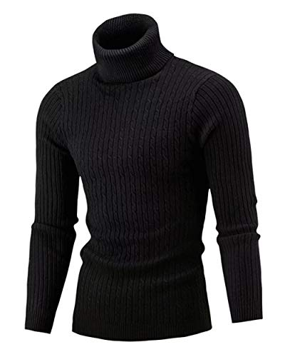 QZH.DUAO Men's Casual Slim Fit Turtleneck Pullover Sweaters, Black, US Medium = Tag 4XL