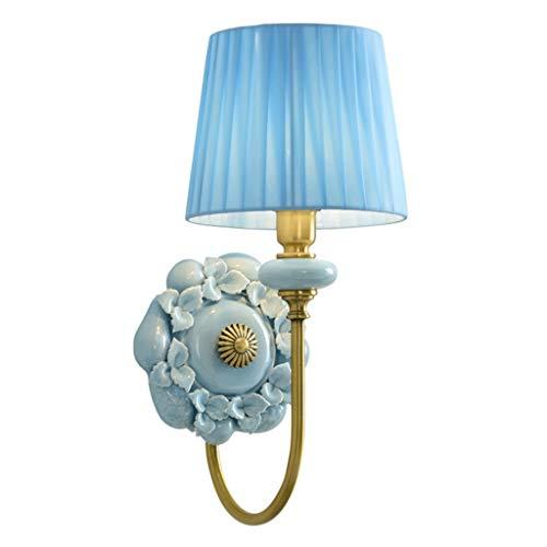 Lámpara de pared Lámpara de pared simple y elegante Sala de estar Dormitorio Lámpara de cabecera Espejo Faro principal Cabeza Lámpara de pared de cerámica creativa incrustada (azul) Luces de Pared