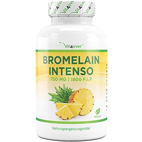 Vit4ever® Bromelain Intenso - 750 mg (1800 F.I.P) - 120 magensaftresistente Kapseln (DRcaps®) - Laborgeprüfte Qualität - Natürliches Verdauungsenzym aus Ananas-Extrakt - Vegan - Hochdosiert