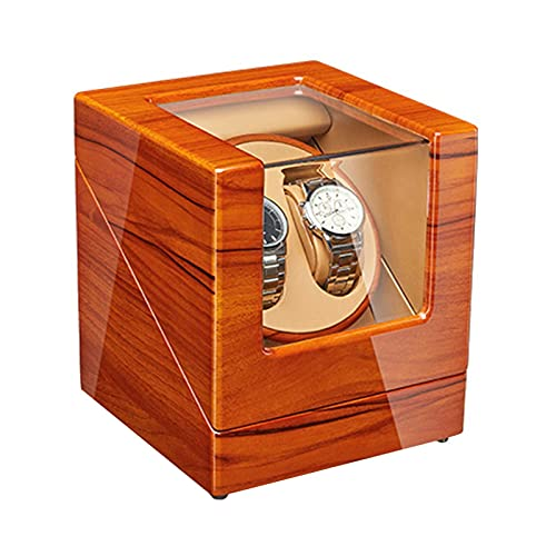 N&W Automatic Double Watch Winder Box Luxury Wooden Storage Case 5 Rotation Mode AC Adapter and Battery Powered Watch Winder
