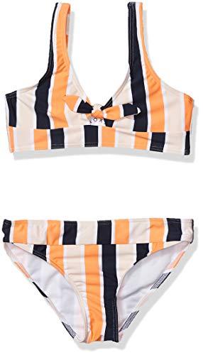 Roxy Girls' Big Made Athletic Swimsuit Set, Cadmium Orange Pong Stripes Sample, 10